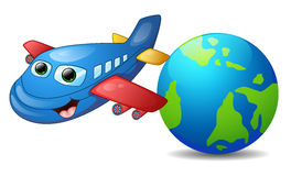 Cartoon blue airplane character Royalty Free Stock Images