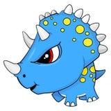 Cartoon Blue Baby Triceratops Dinosaur stock illustration