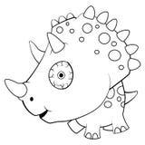 Cartoon Blue Baby Triceratops Dinosaur vector illustration