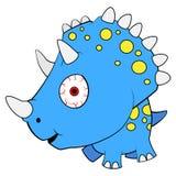 Cartoon Blue Baby Triceratops Dinosaur royalty free illustration