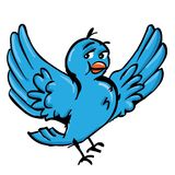 Cartoon of blue bird. Ready for twitter Royalty Free Stock Photo