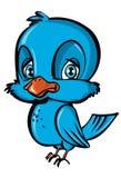 Cartoon of blue bird. Isolated on white Stock Photography