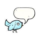 Cartoon blue bird. Retro cartoon with texture. Isolated on White Royalty Free Stock Photography