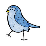Cartoon blue bird. Retro cartoon with texture. Isolated on White Stock Images