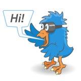 Cartoon Blue bird. With comic bubble. Vector illustration Stock Photo