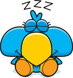 Cartoon Blue Bird Napping. A cartoon illustration of a little blue bird taking a nap Royalty Free Stock Photos