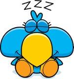 Cartoon Blue Bird Napping. A cartoon illustration of a little blue bird taking a nap Royalty Free Stock Photos