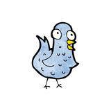 Cartoon blue bird. Retro cartoon with texture. Isolated on White Royalty Free Stock Photo