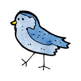 Cartoon blue bird. Retro cartoon with texture. Isolated on White Stock Images