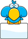 Cartoon Blue Bird Sign. A cartoon illustration of a little blue bird with a white sign Stock Photos