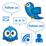 Cartoon of blue bird with social media graphics. Isolated on white background Stock Image