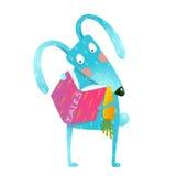 Cartoon blue bunny reading book eating carrot Stock Photo