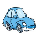 Cartoon blue car illustration Royalty Free Stock Images