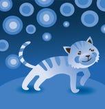 Cartoon blue cat. Vector illustration royalty free illustration