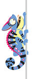 Cartoon blue chameleon. Cartoon chameleon lizard. Side view isolated image royalty free illustration