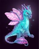 Cartoon blue fantasy dragon Royalty Free Stock Image
