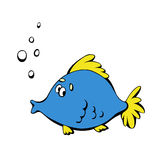 Cartoon blue fish Royalty Free Stock Photos