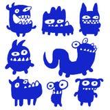 Cartoon Blue Flat Monsters. Vector Illustration. Stock Photography