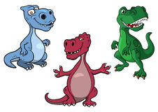 Cartoon blue, green and purple t-rex dinosaurs Stock Image