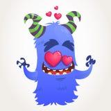 Cartoon blue horned monster in love. Saint Valentine monster. Vector Illustration Royalty Free Stock Photo