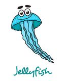 Cartoon blue jellyfish character Stock Image