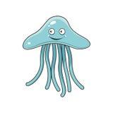 Cartoon blue jellyfish with long tentacles Stock Photos