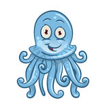 Cartoon blue jellyfish for sea life design. Cute cartoon jellyfish character with blue transparent body and smiling face. May be use as zoo aquarium symbol or Royalty Free Stock Photo
