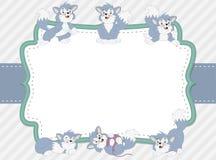 Cartoon blue kitten. Cute playful cat. Stock Photos