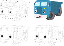 Cartoon blue lorry. Coloring book and dot to dot game for kids Stock Photos