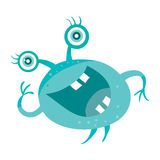 Cartoon Blue Microorganism. Funny Smiling Germ Stock Images