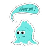 Cartoon blue monster says Aaghr in the bubble Royalty Free Stock Image