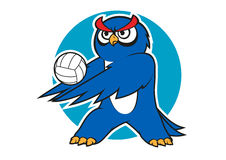Cartoon blue owl volleyball player Royalty Free Stock Image