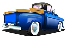 Cartoon Blue Retro Truck Pickup Car, On A White Background