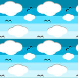 Cartoon blue sky with clouds seamless pattern background illustration Stock Photos
