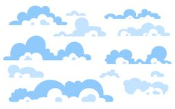 Cartoon Blue sky with clouds on the shiny day. Silhouette of white fluffy clouds isolated on white background. Vector set Stock Photography