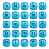 Cartoon blue square buttons Stock Photos