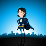 Cartoon Blue Super Lady Royalty Free Stock Image