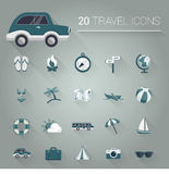 Cartoon blue travel icon set. Cartoon travel icon set vector Stock Photography