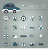 Cartoon blue travel icon set Stock Photography