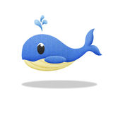 Cartoon blue whale is animal in underwater to sea Stock Image