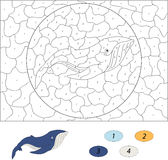 Cartoon blue whale. Color by number educational game for kids. Illustration for schoolchild and preschool Stock Image
