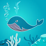 Cartoon blue whale under water. Whale on a background seabed. Royalty Free Stock Photos