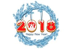 Cartoon blue wreath spruce Happy New Year, cookie 2018 year dog vector Stock Photography