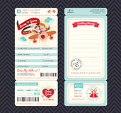 Cartoon Boarding Pass Ticket Wedding Invitation Template stock illustration