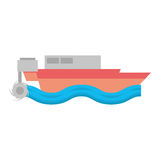 Cartoon boat beach sea wave Royalty Free Stock Photography