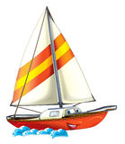 Cartoon boat. Beautiful illustration for the children Stock Photography