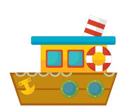 Cartoon boat - caricature Royalty Free Stock Image