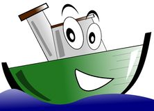 smiling isolated Cartoon Boat Royalty Free Stock Image