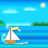 Cartoon boat sticker and sea Stock Image