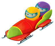 Cartoon bobsleigh with boy and girl Royalty Free Stock Photos